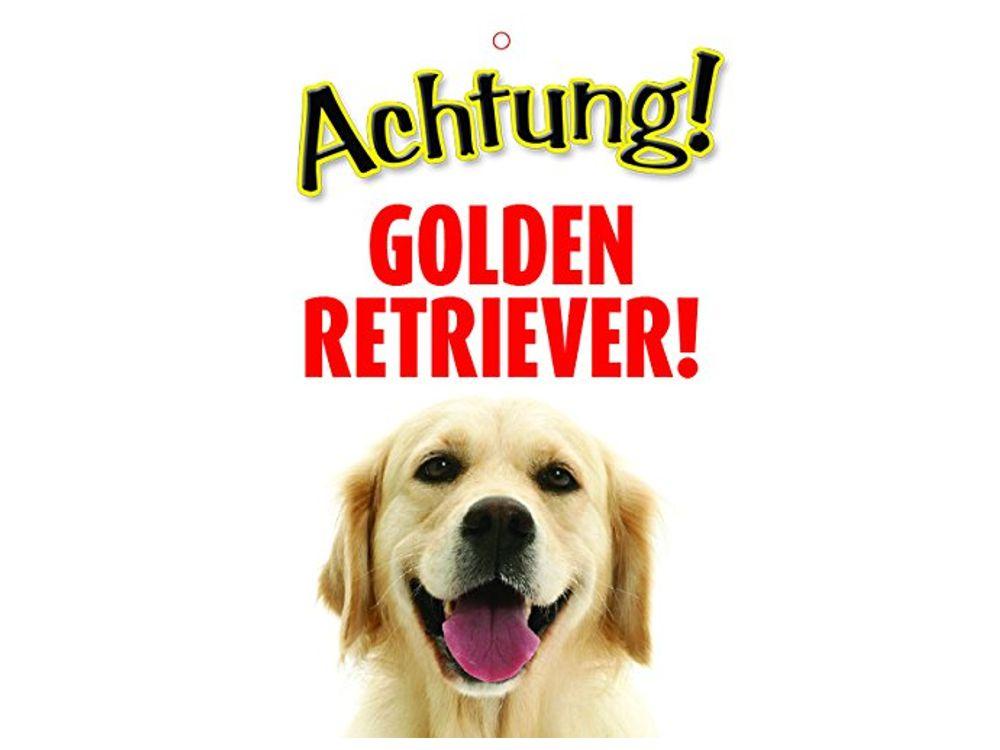 warnschild t rschild achtung golden retriever tierisch tolle geschenke. Black Bedroom Furniture Sets. Home Design Ideas
