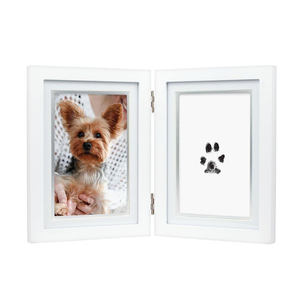 Hunde 3D Pfotenabdruck Set inkl. Bilderrahmen aus Holz - weiss ...