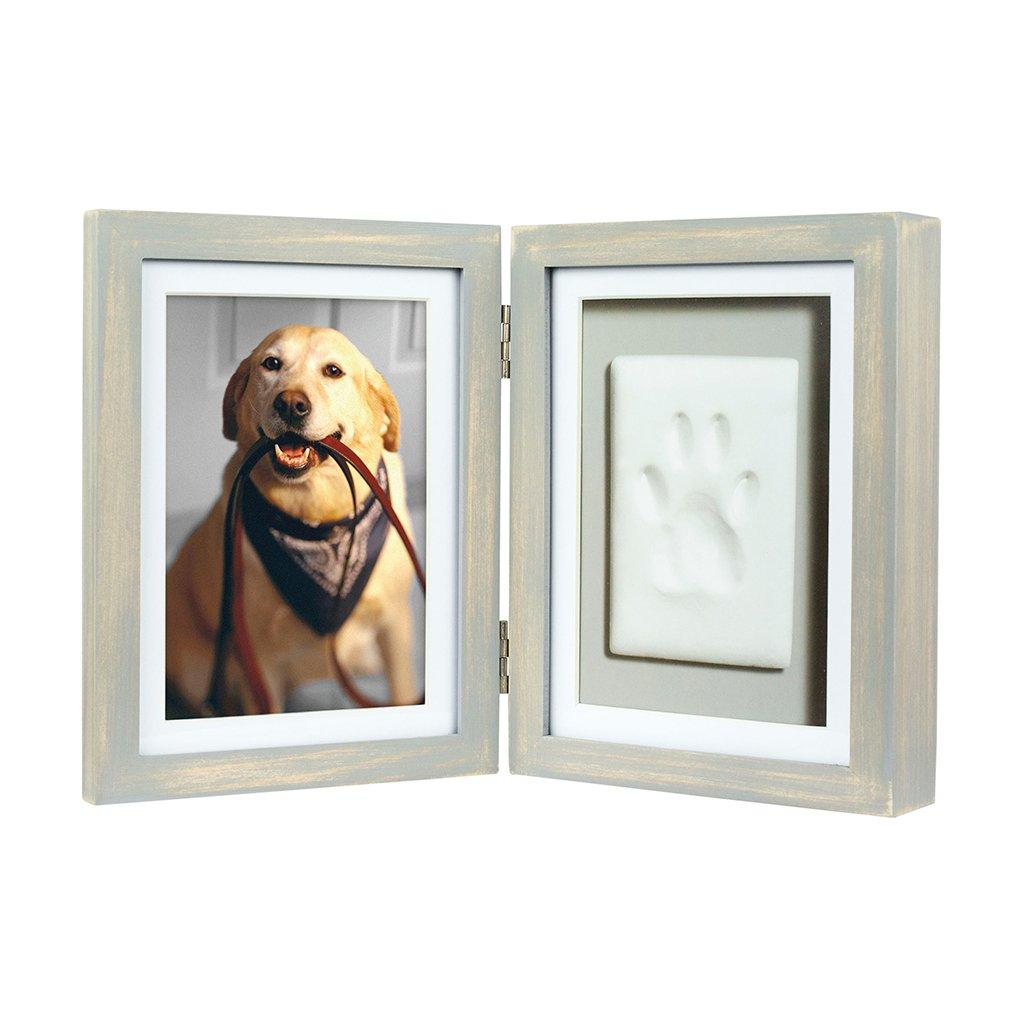 Hunde 3D Pfotenabdruck Set inkl. Bilderrahmen aus Holz - vintage ...