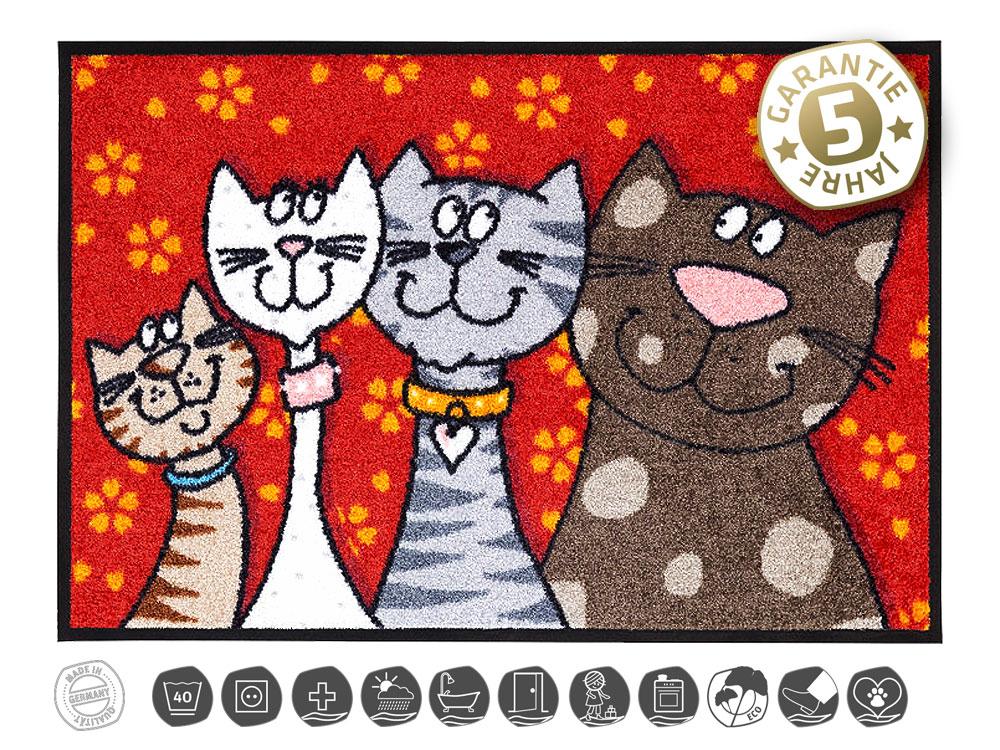 Designer Katzen Fussmatte Katzenfamilie Schmusetiger Tierisch