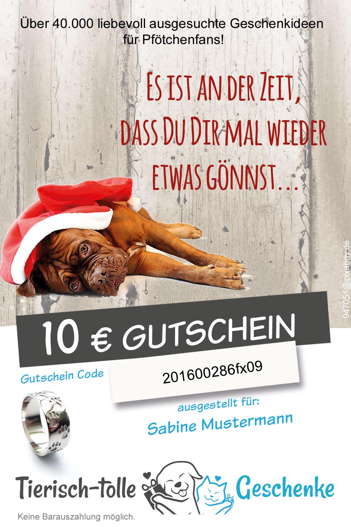 geschenk gutschein f r pf tchenfans hundemotiv weihnachten tierisch tolle geschenke. Black Bedroom Furniture Sets. Home Design Ideas