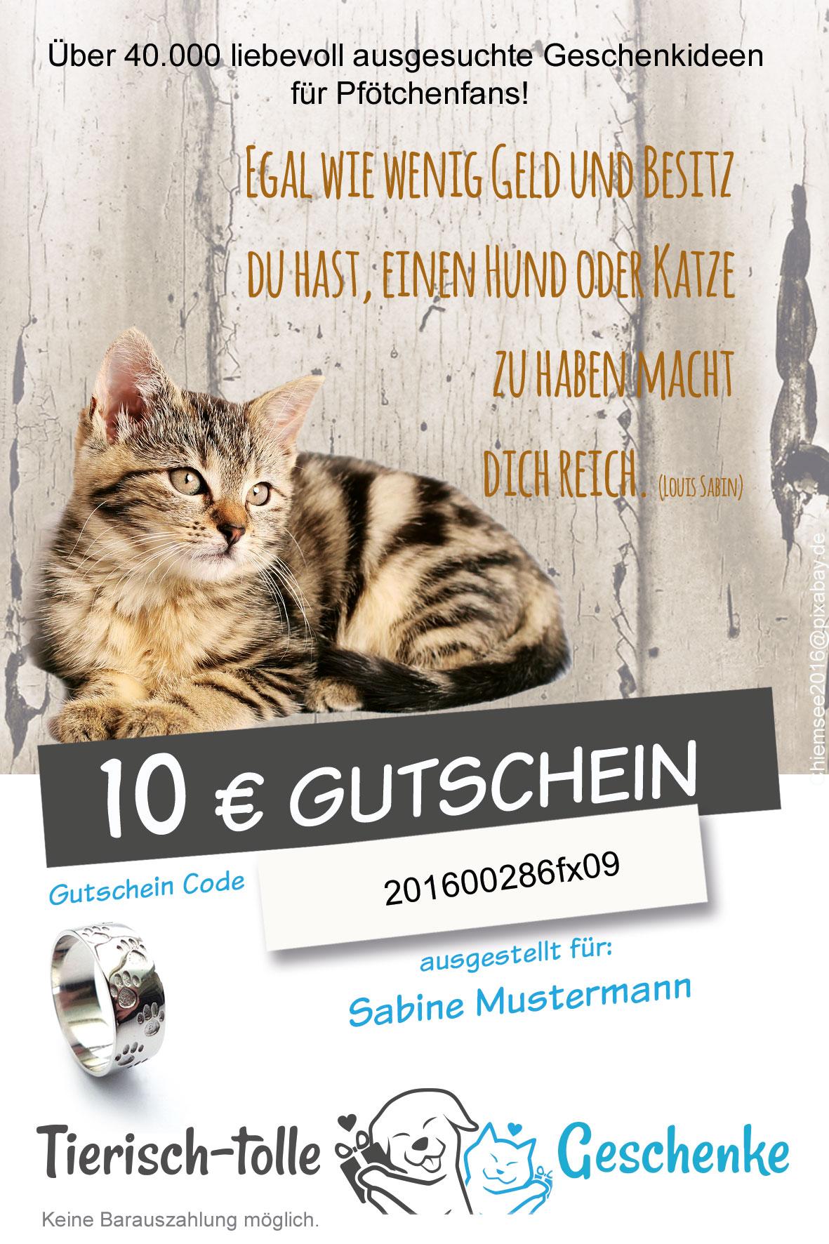 geschenk gutschein f r pf tchenfans katzenmotiv tierisch tolle geschenke. Black Bedroom Furniture Sets. Home Design Ideas