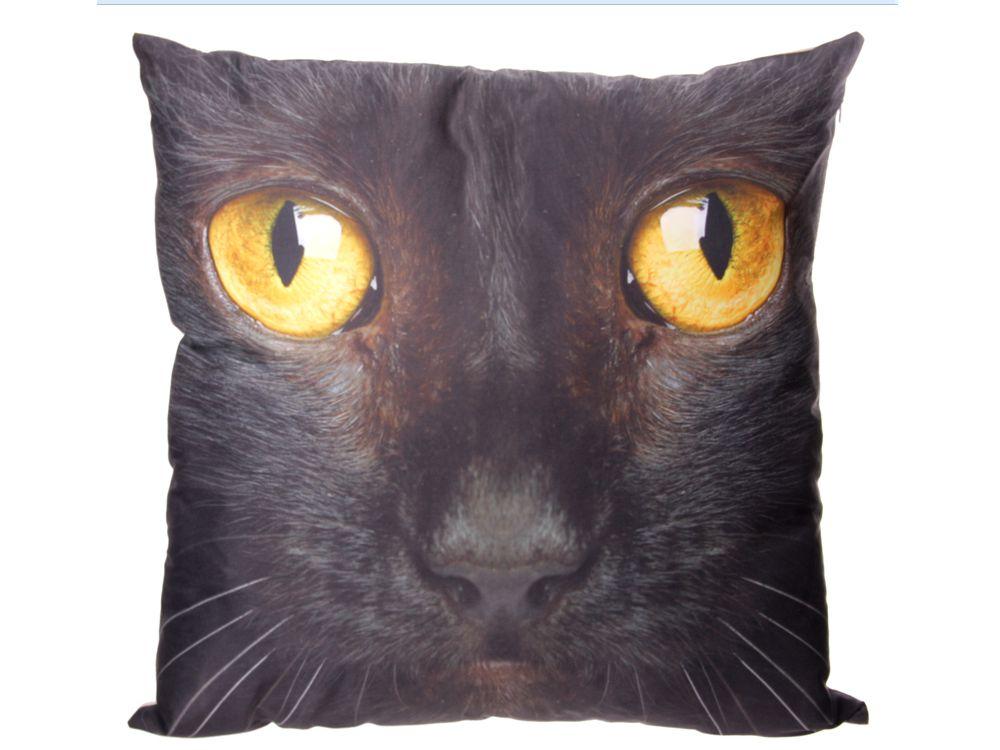 kissen schwarze katze 50 x 50 cm tierisch tolle geschenke. Black Bedroom Furniture Sets. Home Design Ideas