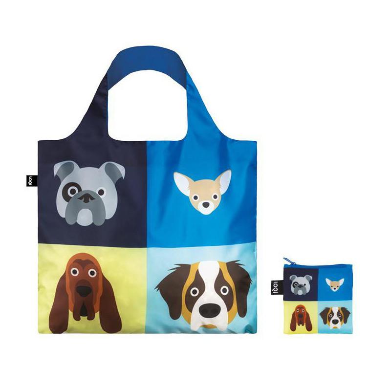 Outlet Store Verkauf neue Produkte für heiße Produkte LOQI Shopper faltbare Einkaufstasche Hundemotiv inkl. Reißverschlussbeutel