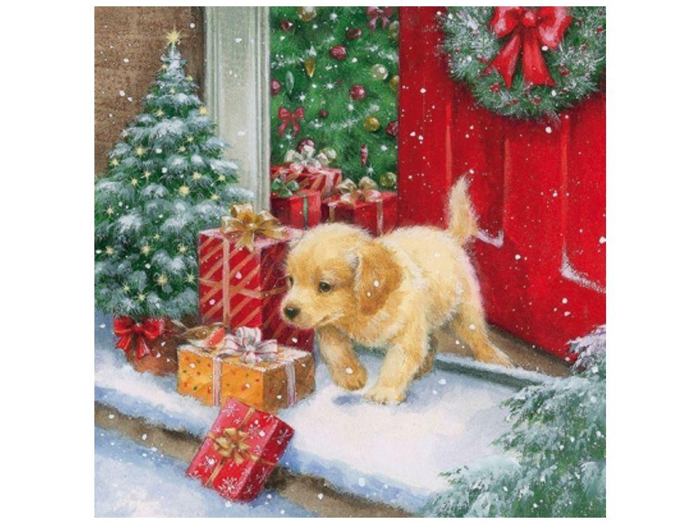 Papier-Servietten: Hund X-mas Puppy Welpe Golden Retriever 20 Stck ...