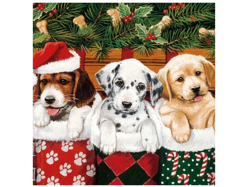 Papier-Servietten: Hunde Welpen X-mas Doggies 20 Stck 33 x 33 cm ...