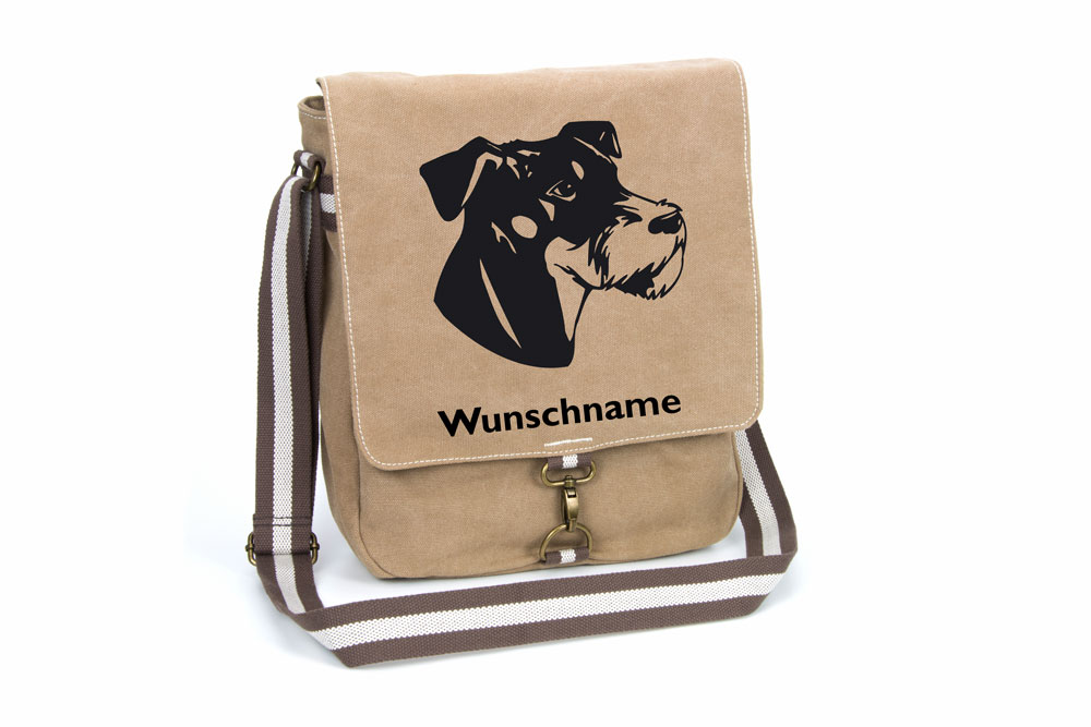 Deutscher Jagdterrier Canvas Schultertasche Tasche Mit Hundemotiv Und Namen