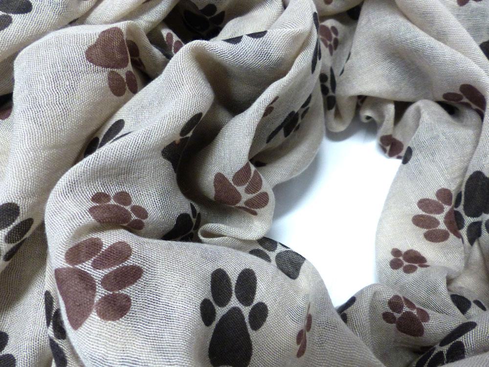 baumwoll schal hundemotiv pf tchen beige tierisch tolle. Black Bedroom Furniture Sets. Home Design Ideas