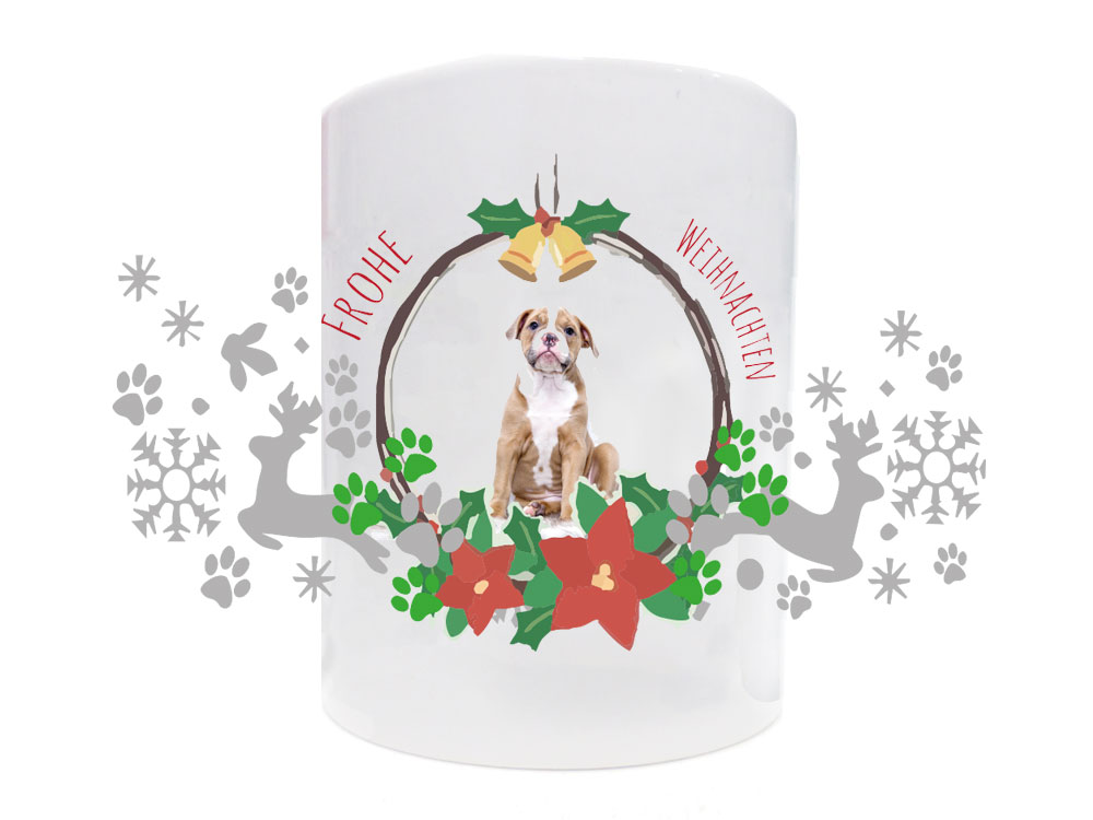 tasse hundespruch frohe weihnachten mit foto tierisch. Black Bedroom Furniture Sets. Home Design Ideas