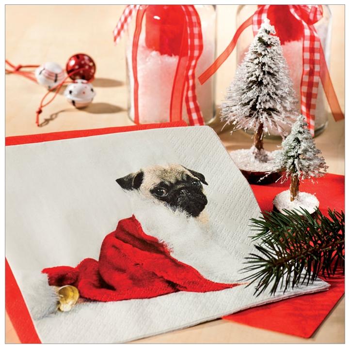 papier servietten hunde mops xmas weihnachten. Black Bedroom Furniture Sets. Home Design Ideas