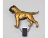 SchlüsselanhängerSchlüsselanhänger versilbertHundeausstellungs-Startnummern-Clip: Boxer Fawn