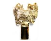 Socken mit TiermotivSocken mit HundemotivHunderassen-Ringclip 24k Vergoldet: Chihuahua Langhaar
