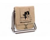 Aufkleber & TafelnAufkleber - On-LeinBorder Collie Flyball Canvas Schultertasche Tasche mit Hundemotiv und Namen