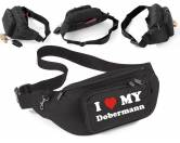 DuftbäumeHundemotiv DuftbäumeHundemotiv-Bauchtasche-Utensilientasche I Love My: Dobermann