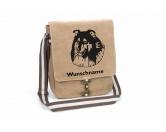 Schmuck & AccessoiresMetall-Hundekopf PinsCollie 2 Canvas Schultertasche Tasche mit Hundemotiv und Namen