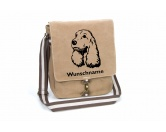 SchlüsselanhängerSchlüsselanhänger versilbertCocker Spaniel Canvas Schultertasche Tasche mit Hundemotiv und Namen