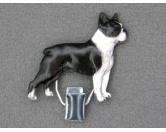 Aufkleber & TafelnHund Inside Auto AufkleberHundeausstellungs-Startnummern-Clip: Boston Terrier