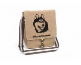 Aufkleber & TafelnAufkleber - On-LeinAlaskan Malamute 1 Canvas Schultertasche Tasche mit Hundemotiv und Namen