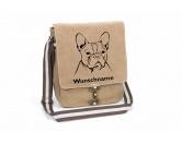 SchlüsselanhängerSchlüsselanhänger versilbertFranzösische Bulldogge 3 Canvas Schultertasche Tasche mit Hundemotiv und Namen