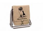 Aufkleber & TafelnAufkleber - On-LeinBernhardiner 1 Canvas Schultertasche Tasche mit Hundemotiv und Namen