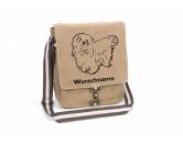 SchlüsselanhängerSchlüsselanhänger versilbertMalteser 1 Canvas Schultertasche Tasche mit Hundemotiv und Namen