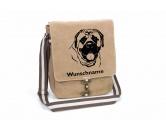 Für MenschenAuto-SonnenschutzMastiff 2 Canvas Schultertasche Tasche mit Hundemotiv und Namen