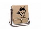Leben & WohnenHundemotiv HandtücherHusky 2 Canvas Schultertasche Tasche mit Hundemotiv und Namen