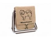 Für MenschenAuto-SonnenschutzSamoyede Canvas Schultertasche Tasche mit Hundemotiv und Namen