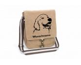 Für MenschenAuto-SonnenschutzGolden Retriever 1 Canvas Schultertasche Tasche mit Hundemotiv und Namen