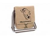 Für MenschenHunde Motiv Handtuch -watercolour-Australian Shepherd 2 Canvas Schultertasche Tasche mit Hundemotiv und Namen
