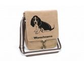 Taschen & RucksäckeGeldbörsen & HandytaschenBasset 3 Canvas Schultertasche Tasche mit Hundemotiv und Namen