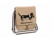 Schmuck & AccessoiresHunderassen Schmuck AnhängerBasset 4 Canvas Schultertasche Tasche mit Hundemotiv und Namen