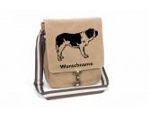 Tiermotiv Tassen3D Tassen HundeBernhardiner 2 Canvas Schultertasche Tasche mit Hundemotiv und Namen