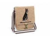 Taschen & RucksäckeGeldbörsen & HandytaschenBoxer 3 Canvas Schultertasche Tasche mit Hundemotiv und Namen