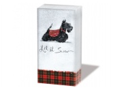 WeihnachtenPapier-Taschentücher: Scottish Terrier - Xmas Let it snow
