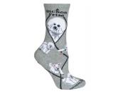 Socken mit TiermotivSocken mit HundemotivHunde Rasse Socken: Bichon Frise -grau-
