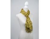 Schals für TierfreundeKunstseiden-Schal Hundesilhouetten: gelb - braune Silhouetten