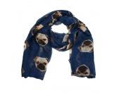 Schals für TierfreundeViskose-Schal-Hundemotiv: Mops dunkelblau