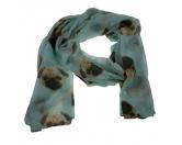 Schals für TierfreundeViskose-Schal-Hundemotiv: Mops hellblau