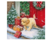 WeihnachtenPapier-Servietten: Hund X-mas Puppy Welpe Golden Retriever 20 Stck 33 x 33 cm