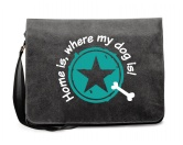 Bekleidung & AccessoiresFan-Shirts für HundefreundeCanvas Messenger: Spruch - Home is, where my dog is- türkis