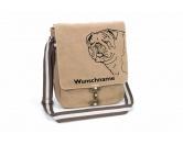 Schmuck & AccessoiresHunderassen Schmuck AnhängerBulldogge Canvas Schultertasche Tasche mit Hundemotiv und Namen