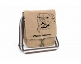 RestpostenBulldogge 2 Canvas Schultertasche Tasche mit Hundemotiv und Namen