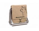 Aufkleber & TafelnChihuahua 2 Canvas Schultertasche Tasche mit Hundemotiv und Namen