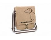 Tiermotiv TassenTassen HunderassenDackel Canvas Schultertasche Tasche mit Hundemotiv und Namen