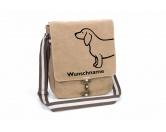 Für TiereFutterplatz-Matten & UnterlagenDackel 3 Canvas Schultertasche Tasche mit Hundemotiv und Namen