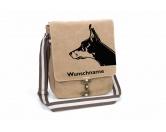 Tierische-FigurenVersilberte Hunde-FigurenDobermann Canvas Schultertasche Tasche mit Hundemotiv und Namen