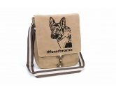 Für TiereHundemotiv - HandtücherSchäferhund 2 Canvas Schultertasche Tasche mit Hundemotiv und Namen
