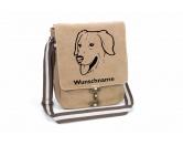 Weihnachten & GeburtstageWeihnachtsartikelGolden Retriever 3 Canvas Schultertasche Tasche mit Hundemotiv und Namen