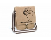 Tierische-FigurenVersilberte Hunde-FigurenShar Pei Canvas Schultertasche Tasche mit Hundemotiv und Namen